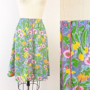 Vintage Button Front Cotton Floral Skirt Sm O469